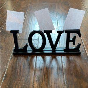 Beautiful black LOVE sign 13.5 x 5 photo holder